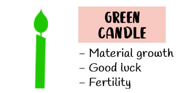 Green candle meaning in Magic
