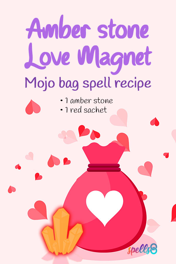 Tap to pin it: Amber Stone Love Spell Mojo Bag