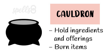Cauldron tool for casting spells