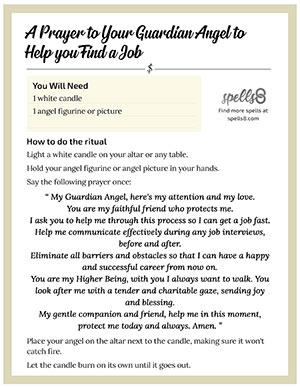 Print it: Guardian Angel Prayer to help Find a Job