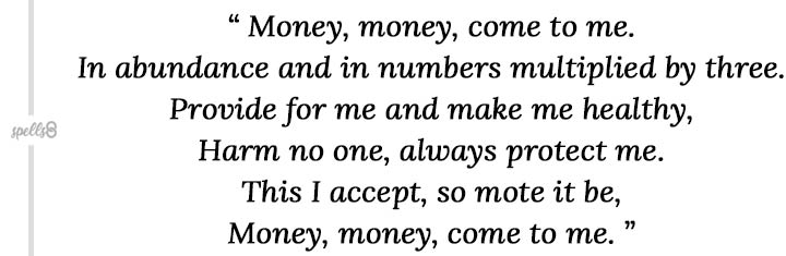 Money come to me Wiccan Spell