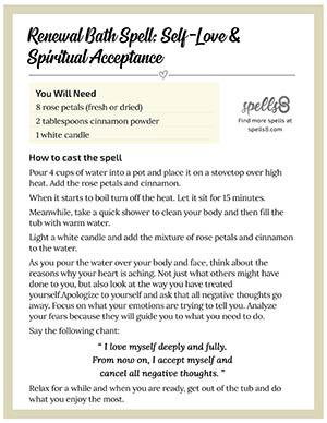 Print it: Renewal Bath Spell for Self-Love