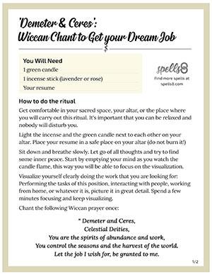 Wiccan chant to get your dream job