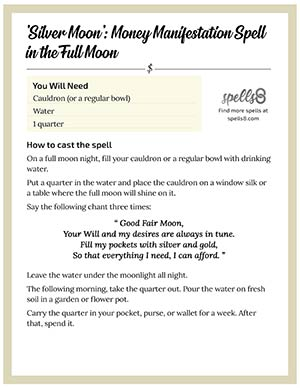 Print it: Full Moon Wiccan Money Spell