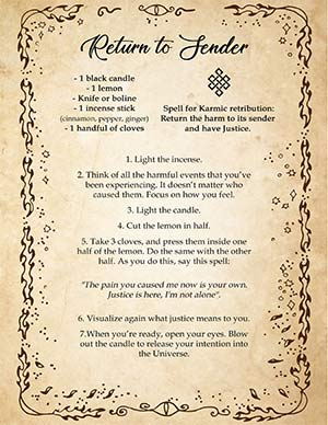 Return to Sender Printable Spell