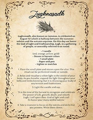 Lammas Wiccan Sabbat Celebration Printable Page