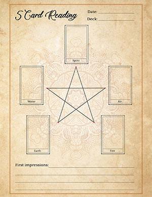 5-Card Tarot Pentagram Reading