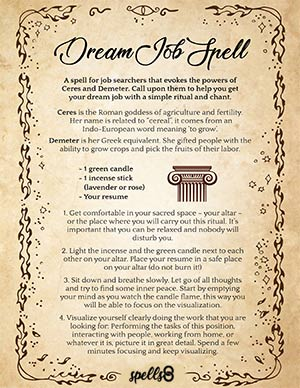 Wiccan Chant Spell to get your Dream Job