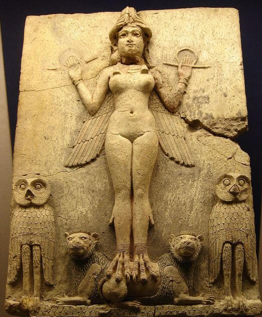 Ancient Babylonian relief of Inanna