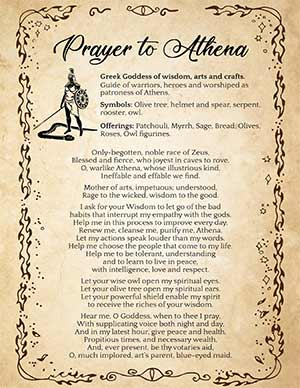 Prayer to Athena and Offerings