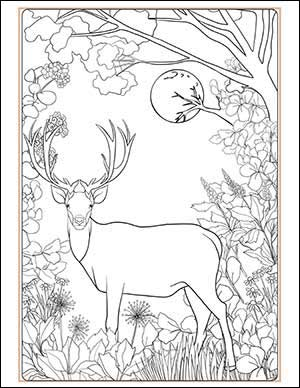 Full Buck Moon Coloring Page