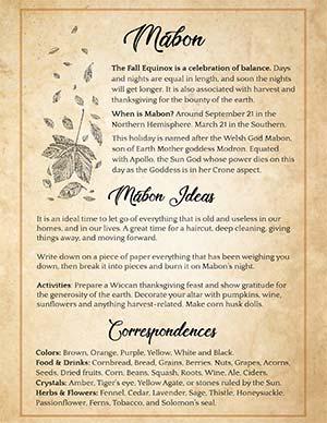 Mabon Correspondences