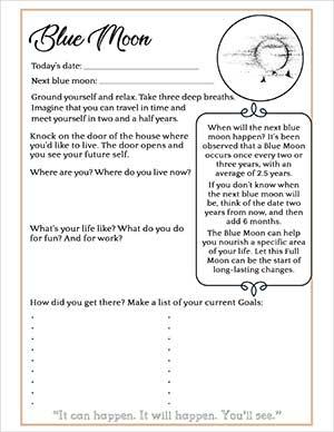 Blue Moon Journaling Worksheet