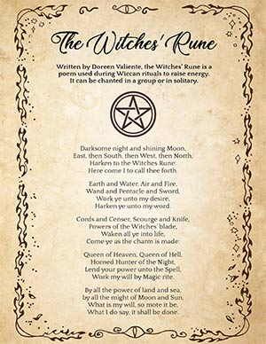 The Witches' Rune Printable page