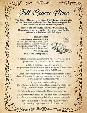 Full Beaver Moon Ritual and Spell