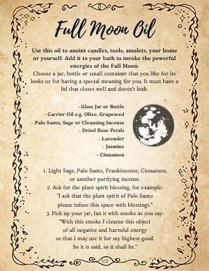 Full Moon Oil Recipe