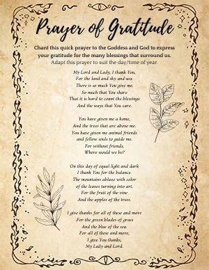 Gratitude Prayer Pagan
