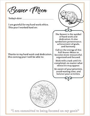 Full Beaver Moon Journaling Page
