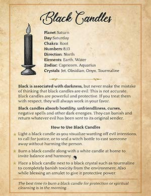 Black Candle Printable Grimoire Page