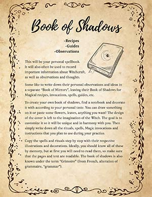 Witches Book of Shadow Pages
