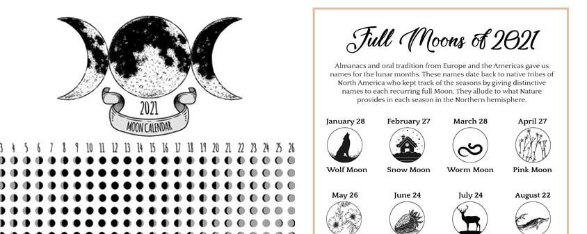 Lunar Calendar 2021 Printable Page