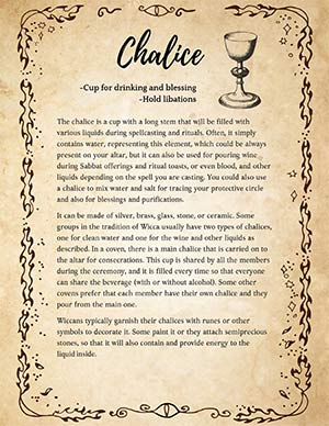 Wicca Chalice Book of Shadows Spells