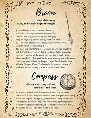 Witches Wiccan Broom Book of Shadows