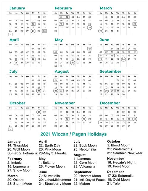 List of Pagan Holidays